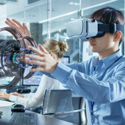 Computer,Science,Engineer,Wearing,Virtual,Reality,Headset,Works,With,3d